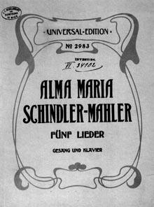 Copertina della prima edizione dei Lieder di Alma Mahler pubblicata da Gustav Mahler nel 1810